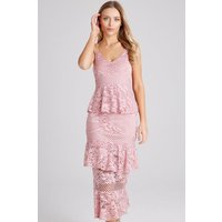 Girls on Film Born Dusty Pink Tiered-Ruffle Midi Dress size: 6 UK, col