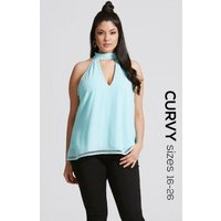 Girls On Film Curvy Blue Cut Out Halter Top size: 22 UK, colour: Turqu