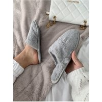 Grey Fluffy Closed Toe Slipper size: Footwear 3 UK, colour: Grey