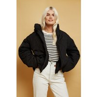 Little Mistress Bounty Black Quilted Puffer Jacket size: 16 UK, colour