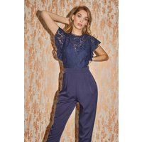 Little Mistress Caitlyn Navy Lace Frill Tapered Jumpsuit size: 16 UK,