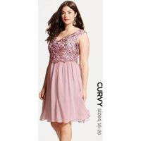 Little Mistress Curvy Dusty Pink Embroidered Prom Dress size: 24 UK, c