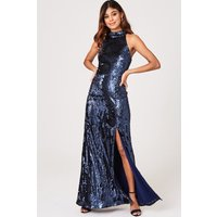 Little Mistress Nicky Navy Sequin Maxi Dress size: 6 UK, colour: Navy