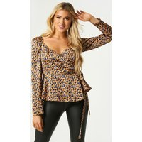 Little Mistress Trove Abstract-Print Puff Sleeve Wrap Top size: 8 UK,