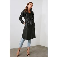 Trendyol Little Mistress x Trendyol Black PU Tie Trench Coat size: 8 U