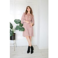 Nude  High Neck Lace Frill Smock Dress size: S, colour: Nude