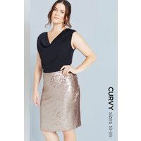 Paper Dolls Black top and Gold sequinned Skirt  size: 18 UK, colour: G