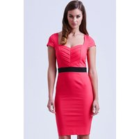 Paper Dolls Coral Pleated Sweetheart Dress size: 14 UK, colour: Pink