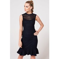 Paper Dolls Midori Navy Crochet Peplum Dress size: 8 UK, colour: Navy