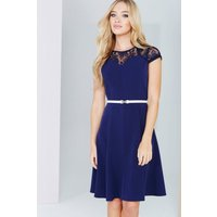 Paper Dolls Navy Lace Detail Fluted Swing Dress size: 6 UK, colour: Na