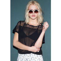 Girls on Film Black Lace Detail Chiffon Top size: 16 UK, colour: Black
