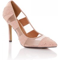 Little Mistress Footwear Nude Mesh Diamante Pointed Court Shoe size: F
