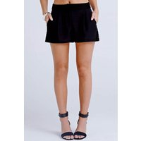 Girls on Film Black Lace Trim Shorts size: 16 UK, colour: Black