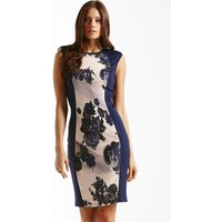 Little Mistress Navy Panelled Floral Front Dress size: 12 UK, colour: