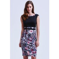 Paper Dolls Black and Floral Bodycon Dress size: 12 UK, colour: Floral