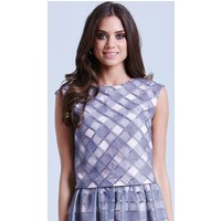 Little Mistress Grey and Pink Organza Gingham Top size: 14 UK, colour: