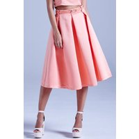 Girls on Film Coral Structured Midi Skirt With Belt size: 8 UK, colour