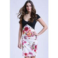 Paper Dolls Two in one black and floral bodycon dress size: 12 UK, col