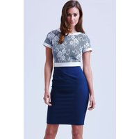 Paper Dolls Navy and White Lace Top Dress size: 16 UK, colour: Navy /