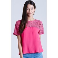 Girls on Film Pink Floral Lace Bow Back Top size: 10 UK, colour: Pink