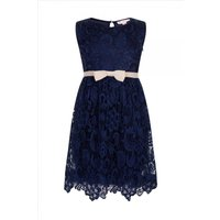 Little MisDress Navy Lace Bow Puffball Party Dress size: 5-6 Yrs, colo