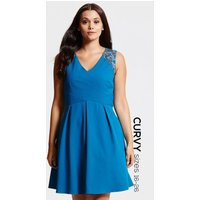 Little Mistress Curvy Teal Gathered Crossover Dress size: 22 UK, colou