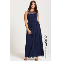 Little Mistress Curvy Navy Embellished Neck Maxi Dress size: 22 UK, co