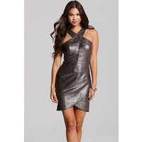 Girls on Film Pewter Bodycon Mini Dress size: 10 UK, colour: Silver