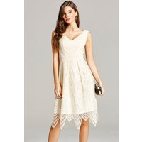 Little Mistress Cream Lace Prom Dress size: 14 UK, colour: Cream