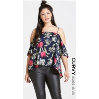 Girls on Film Navy Floral Print Top  size: 18 UK, colour: Print / Navy