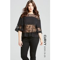 Girls on Film Black Lace Stripe Flared Top size: 26 UK, colour: Black