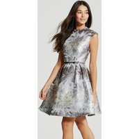 Little Mistress Silver Jacquard Skater Dress size: 14 UK, colour: Silv