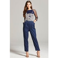 Little Mistress Navy Embroidered Sheer Jumpsuit size: 6 UK, colour: Na