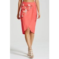 Little Mistress Coral Embroidered Wrap Front Skirt size: 8 UK, colour: