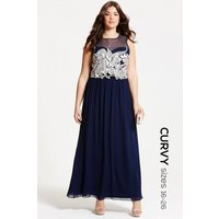 Little Mistress Curvy Navy Embroidered Maxi Dress size: 16 UK, colour: