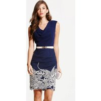 Little Mistress Navy Embroidered Cowl Neck Bodycon Dress size: 8 UK, c