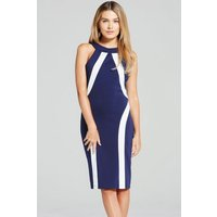 Paper Dolls Navy and Cream Illusion Bodycon Dress size: 14 UK, colour: