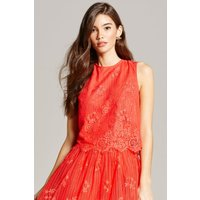 Little Mistress Papaya Lace Scallop Hem Top size: 8 UK, colour: Coral