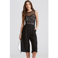 Little Mistress Black Crochet and Lace Culotte Jumpsuit size: 14 UK, c