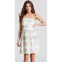 Little Mistress Cream Sequin Bandeau Fit and Flare Dress size: 16 UK,