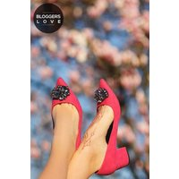 Little Mistress Footwear Ananke Pink Brooch Mid Court Shoes size: Foot