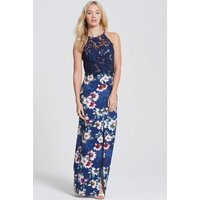 Outlet Paper Dolls Navy Floral Bloom Print Maxi Dress size: 6 UK, colo