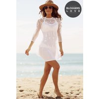Girls on Film Cream Embroidered Sheer Mini Dress size: M, colour: Crea