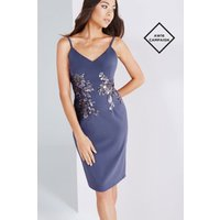 Little Mistress Lavender Grey Cami Dress With Gold Sequin size: 12 UK