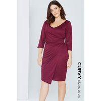 Girls on Film Plum Wrap Front Bodycon Dress size: 16 UK | EUR 44, colo