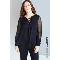 Girls On Film Curvy Black Polka Dot Lace-Up Blouse size: 22 UK l EUR 5