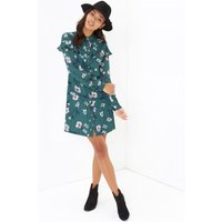Girls on Film Floral Print Shirt Dress  size: 10 UK, colour: Print