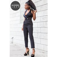 Girls on Film Black Tuxedo Jumpsuit size: 12 UK, colour: Black