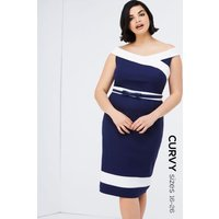 Paper Dolls Curvy Navy Bodycon Dress  size: 26 UK, colour: Navy / Crea