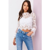 Girls on Film White Lace Top  size: L, colour: White